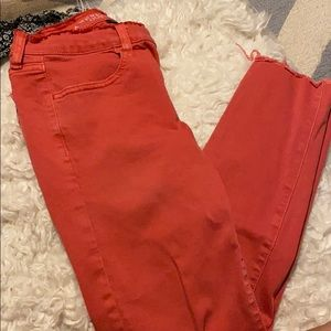 American Eagle Red crop jeans
